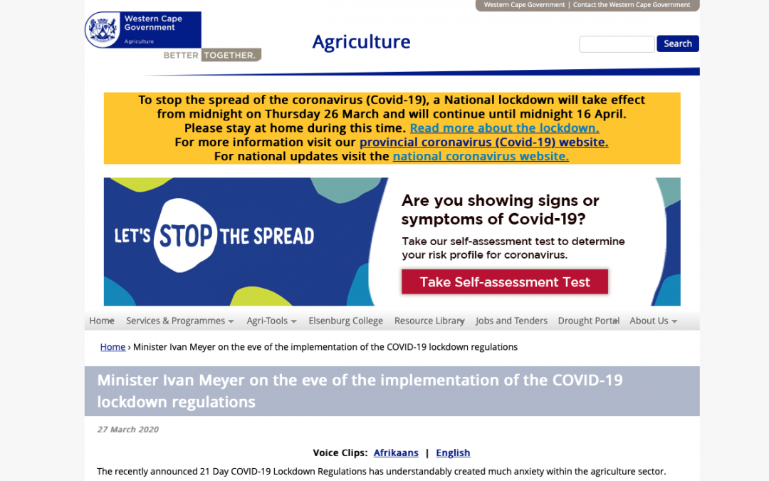 Implementing the Covid-19 lockdown regulations