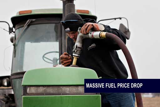 Massive fuel drop helps offset cost pressures for the agriculture sector